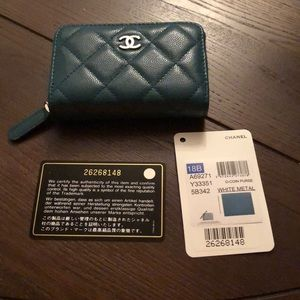 Authentic Chanel zipper coin purse wallet teal blu